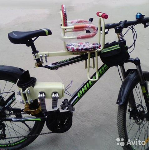 Детское сиденье на велосипед на раму авито