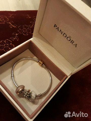 браслет Pandora оригинал золотой замок шармы Festimaru