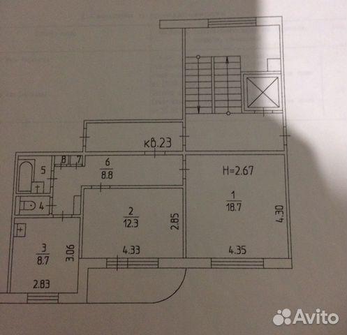 2-room apartment, 52.6 m2, 6/9 et. 89121702916 buy 1