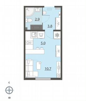 1-к квартира, 22.4 м², 13/25 эт. объявление продам