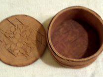 Берестяная коробочка с крышкой диаметр 7 см.(СССР)