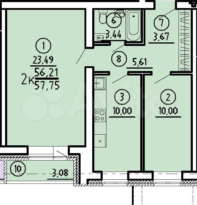 2-к квартира, 57.8 м², 3/4 эт.  89631954001 купить 1