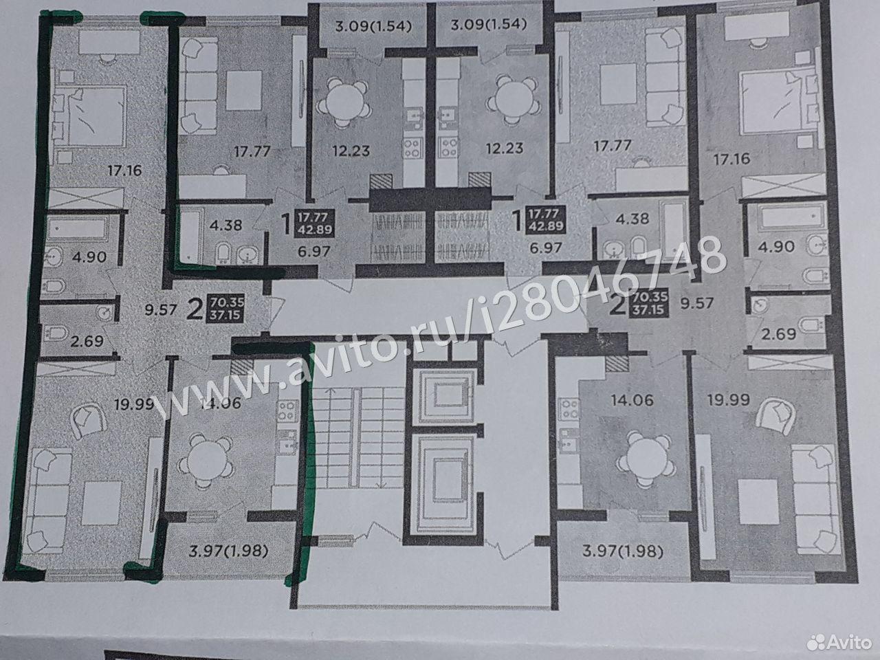 2-к квартира, 70.4 м², 3/13 эт.  89814697606 купить 8